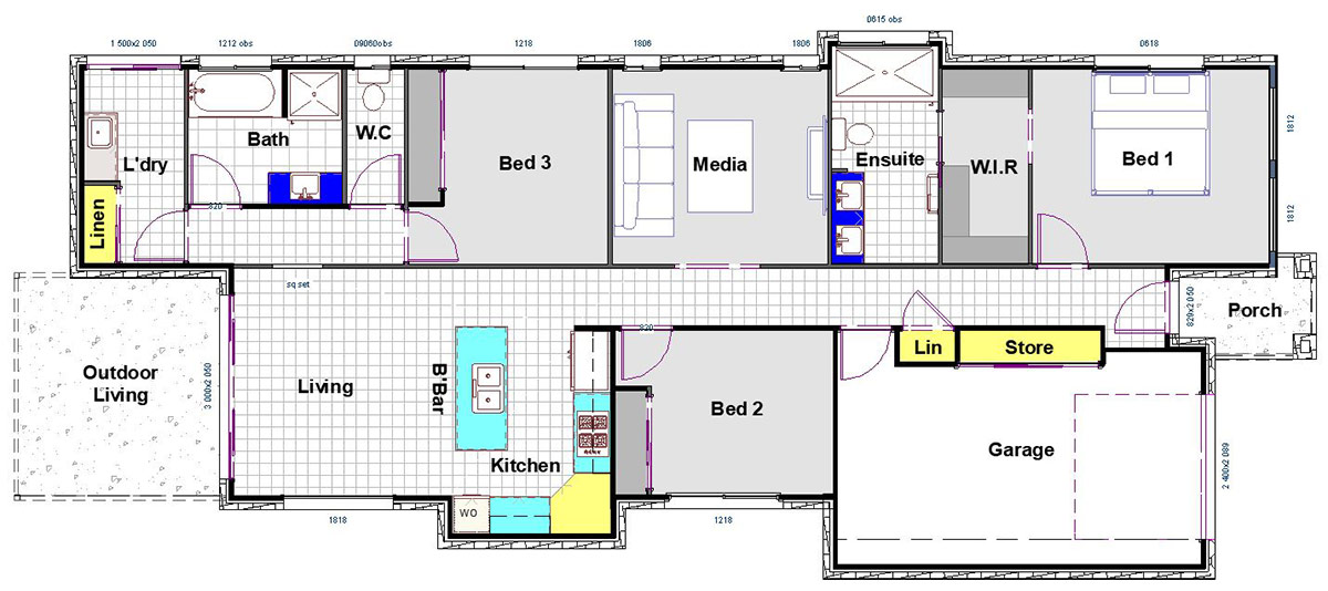 Julie - Small Lot Home - Floor Plan -  by Custom Styled Homes - Brisbane & Gold Coast Home Builders